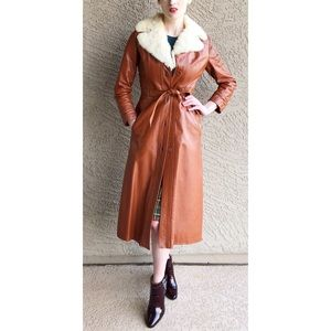 VINTAGE Leather Full Length Trench Coat Jacket Fur